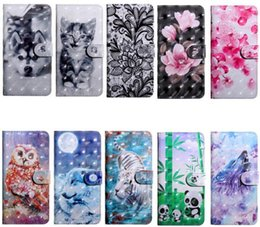 case samsung owl UK - For Huawei P40 Pro P40 Lite P40 Mate 30 Lite Pro 3d Leather Wallet Case Flower Dog Lace Wolf Tiger Cat Owl Card Id Slot Luxury Flip Cover