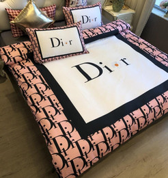 Branded Bedding Set Cotton Fashion 4Pcs Quilt Cover Sets Family Flat Sheet Pillowcase Queen Size Duvet Cover No Filling
