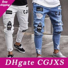 bikers boots UK - 2019053101 3 Styles Men Stretchy Ripped Skinny Biker Embroidery Print Jeans Destroyed Hole Taped Slim Fit Denim Scratched High Quality Jean
