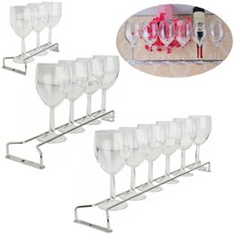 stemware wine glasses Canada - New Hot Sliver Home Stemware Holder Under Cabinet Kitchen Wine Glass Rack Hanging Large Chrome
