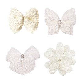 center clips Australia - 2020 Big Large White Pearl Hair Bows With Hair Clips For Girls Kids Boutique Layers Bling Rhinestone Center Bows Hairpins Hair Accessories