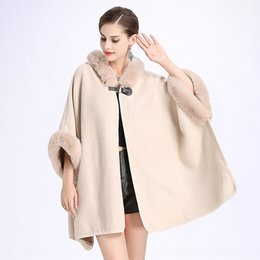 Wholesale hooded capes for women online – ideas wHClC autumn and winter Cloak double sided New Copy Rex rabbit fur collar hooded cape knitwear Cape knitwear coat for women