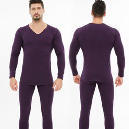 Wholesale thermal underwear for winter for sale - Group buy Men s seamless thermal set black technology heating fiber velvet thickened men s for autumn and winter Thermal underwear Underwear