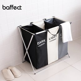 dirty clothing Australia - X-shape Foldable Dirty Laundry Basket Organizer Collapsible 2 3 Grids Dirty Clothes Storage Waterproof Large Laundry Hamper T200115