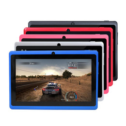 "7 inch tablet pc UK - Q88 Q8 A33 Quad Core children tablet pc 7"" 7 inch Allwinner Android 4.4 Kitkat Capacitive 512MB 4GB Dual camera MID Flashlight"