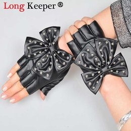 white leather gloves NZ - Fashion Female Half Finger Punk Rivet Dance Gloves Women Sport Fitness PU Leather Bow Mittens Tactical Fingerless Gilrs Luvas