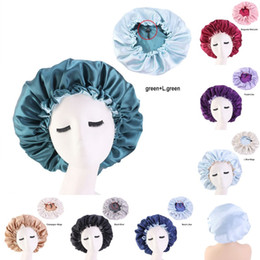 Wide Brimmed Bath Hat Plain Colour Hair Bonnets Silk Round Adjustable Buckle Fitted Hats Satin Head Wrap Bathroom Products Women 6 66ba B2 on Sale