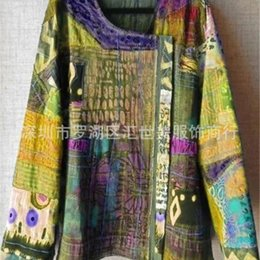 Wholesale women t shirts ethnic online – 2019 New abstract ethnic style printed long sleeved T shirt top nationality Ethnic Group loose literary casual top for women