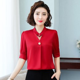 Wholesale shirt quilt for sale – custom LIN57 Chiffon short sleeved women s Quilt cover shirt v7p5A clothing new fashionable slimming women s clothing loose large size summer b