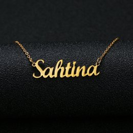 personalized name pendants Australia - 2020 New Gold Silver Color Personalized Custom Name Pendant Necklace Customized Cursive Nameplate Necklace Women Handmade Birthday Gift