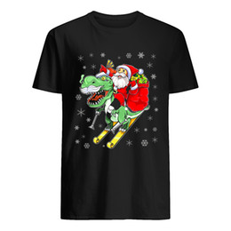 Wholesale ugly christmas shirt online – design T Rex Santa Ride Funny Ugly Christmas Men S XL Cotton Made in US fashion Large big size Tee Shirt