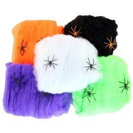 Discount halloween decorations spider web 5 color Halloween Spider Web Stretchy Cobweb With Spider For halloween party KTV Props Bar Haunted House party decoratio