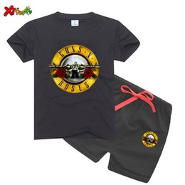 t shirt design rock band NZ - Kids Slash Rock Band Gun N Rose Design t shirt 2020 Boys Girls Great Casual Girls Sets Short Sleeve Kids Clothes T-Shirt Sets