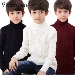 Wholesale boys school coats for sale – custom New Winter Boys Fashion Sweater Kids Thick Knitted Bottoming Turtleneck Solid Sweaters School Teenages Children Coat Tops H106