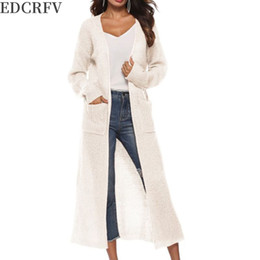 Wholesale maxi cardigan sweaters for sale - Group buy Womens Long Sleeve Open Front Cardigan Maxi Long Side Split Solid Color Knitted Sweater Irregular Slim Coat with Large Pockets CX200825