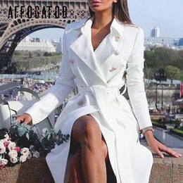 Wholesale ladies white trench coat resale online - Affogatoo Elegant Office ladies double breasted white trench coat Sashes slim trench female Vintage winter trench dresses women