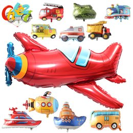 kids submarine toy Canada - 1pcs Cartoon Car Balloons Bus Submarine yacht Foil Balloon plane Globos Children Gifts Birthday Party Decorations Kids toys