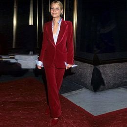 long formal suit jacket for women Canada - Wine Red 2020 Mother Of The Bride Pant Suits Women Business Work Wear Formal Outfit For Weddings Tuxedos Blazer (Jacket Pants )