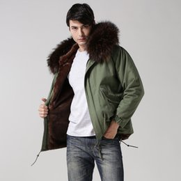 mens short fur coat Australia - Short Style Plus Size Real Collar Mens Parka,deep Brown Faux Fur Lining Fashion Coat,mens Winter Coffee Casual Outwear