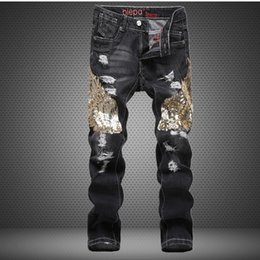 urban jeans UK - jQcG7 New straight and trousers and jeans slim jeans with holes fashionable urban nightclub men's pants