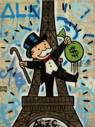 Discount eiffel tower canvas prints Alec Monopoly Banksy Urban art Wall Decor Eiffel Tower Home Decor Handpainted &HD Print Oil Painting On Canvas Wall Art