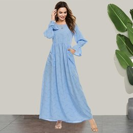 Wholesale maxi blue dress for sale - Group buy Siskakia Maxi Dress Sweet O Neck Flare Long Sleeve Empire Swing A Line Dresses Fresh Blue Pocket Striped Women Clothing