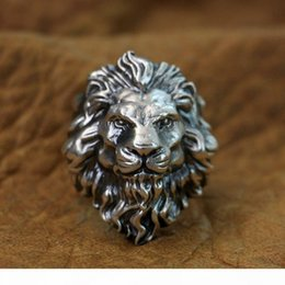 animal rings lions UK - LINSION Huge 925 Sterling Silver King of Lion Ring Mens Biker Punk Ring TA128 US Size 8 to 15