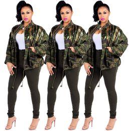 Wholesale xxl ladies winter coats resale online – Autumn Winter Women Matching Camouflage Sequin Jacket Coat Designer Ladies Drawstring Stand Collar Fashion Wind Coat Clothing S XXL LY8201