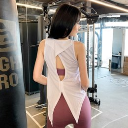 tie yoga pants UK - q3aQT Sports Women's loose outer wear I-shaped yoga top sleeveless quick-drying tied T-shirt running fitness blouse Top vest Coat vest fashi