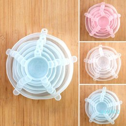 Wholesale 6pcs set silicone fresh-keeping cover Reusable Food Fresh Covers Universal Wrap Bowl Pot Hermetic Kitchen Accessories