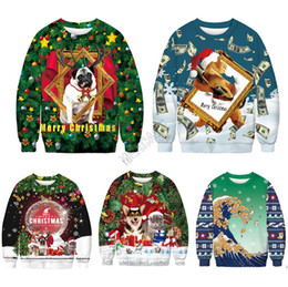 Wholesale cartoon pullovers sweaters resale online - Unisex Christmas Hoodies Cartoon Santa Claus Dogs Printed Sweatshirts Long Sleeve Pullover Autumn Winter Sweater Xmas Clothes M XL D9303