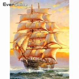 painting seascape boat Australia - Evershine 5D Diamond Embroidery Boat Full Square Rhinestone Pictures Cross Stitch Needlework DIY Scenery Painting Home Decor 8g6k#