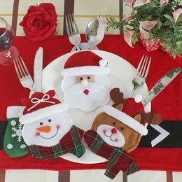 table pouch UK - New Year 6pcs  Lot Christmas Decorations For Home Cutlery Pocket Fork &Knife Tableware Pouch Dinner Table Decor Home Decoration