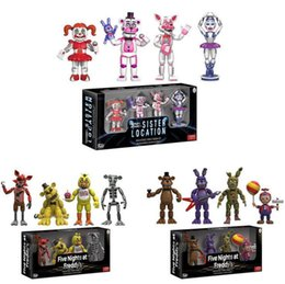 sister doll Canada - 4pcs  Lot 5cm Fnaf Five Nights At Freddy S Action Figure Set Fnaf Foxy Bonnie Freddy Fazbear Sister Location Model Dolls Fnaf Collect To