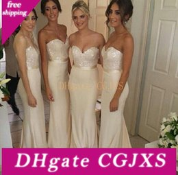 Wholesale beautiful tops images online – design Beautiful Beige Bridesmaid Dresses Top Sequined Sweetheart Prom Dress Long Ribbon Country Party Evening Gowns Cheap Petite Maid Of Honor