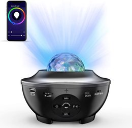 Wholesale Remote Night Light Projector Ocean Wave Voice App Control Bluetooth Speaker Galaxy 10 Colorful Light Starry Scene for Kids Game Party Room
