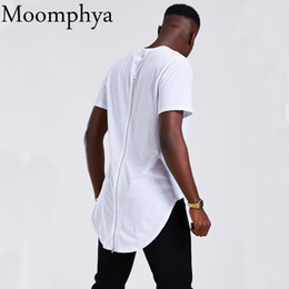 long tailed t shirts UK - Moomphya Longline Curve Hem Men t shirt Full back zip streetwear hip hop t shirt Long tail t-shirt men masculina funny shirts