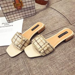 38 diamond Australia - 36 plaid cloth for women 2020 Summer new Korean style low heel fashion sandals with diamond Sandals and slippers Slippers