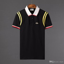 Wholesale t shirt girl online – design 18 New fashion men brand polo t shirt embroidery Snake collar classic t shirt short sleeved t shirt G Striped lovers girls women men Top Tee
