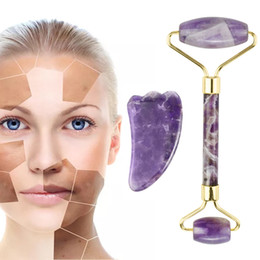 face tool slim Canada - Amethyst Face Roller Scraping Tool Set Face Massage Natural Stone Jade Roller Slimming Beauty Anti Wrinkle Cellulite Facial Lift