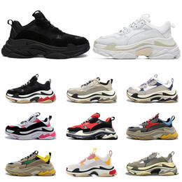 2020 triple s men women shoes vintage sneakers black white bred beige pink grey mens fashion trainers casual jogging walking size 36-45 on Sale