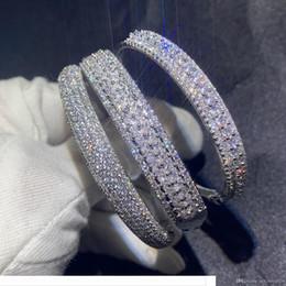 Designer Sparkling New Arrival Luxury Jewelry 925 Sterling Silver Fill Pave White Sapphire CZ Diamond Women Wedding Bangle Finger Brac