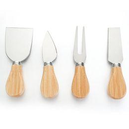 venda por atacado Faca de queijo conjunto de carvalho punho faca garfo shovel kit graters cozimento de queijo pizza cortador de cortador set gwf2022