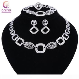 wedding costume jewelry dubai UK - Nigerian Wedding African Beads Jewelry Sets Crystal Fashion Dubai Necklace Earring Ring Jewelry Sets For Women Costume Design