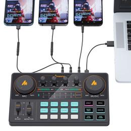 Maoño AM200 ricaricabile Microfono Mixer Digital Audio Podcast scheda audio per computer PC Phone in Offerta