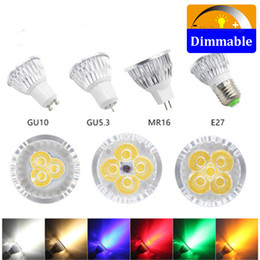 green candle bulbs UK - 50pcs lot LED bulb color spotlight 3w 4w 5w GU10 GU5.3 E27 E14 Warm White red green blue yellow dimmable spot light