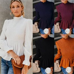 Wholesale ruffle blouses formal online – Women s Pleated Shirt Blouses Long Sleeve Chiffon Tops Solid Color Ruffle Neck Fashion Pleat Shirts Ladies Elegent Boutique Clothing LY810