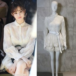 white lace short suit Australia - z28As Spring New Xu Lu star same white perspective Pants set Top lace shirt top women's lace shorts suit