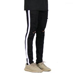 Wholesale long style new fashion hiphop online – oversize Clothing Spring New Fashion Long Zipper Holes Pencil Pants Pantalones Street Hiphop Style Jeans Mens Designer