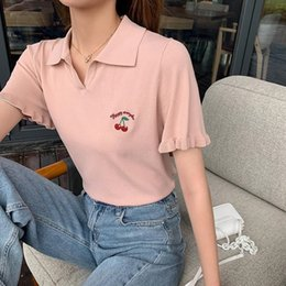 Wholesale white polo v neck for sale – oversize Women s short sleeved sweater for summer thin gentle V neck fashionable Pullover shirt summer pullover Polo air conditioned shirt